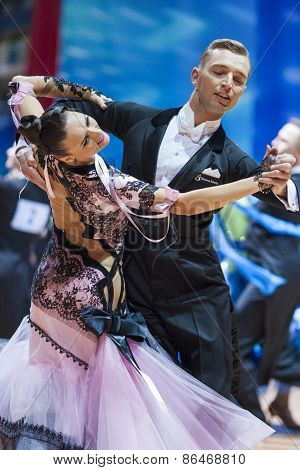 Minsk, Belarus-february 14, 2015: Professional Dance Couple Of Parfyonov Denys And Sopit Tetiana Fro
