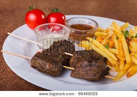 Skewers. Skewers of meat