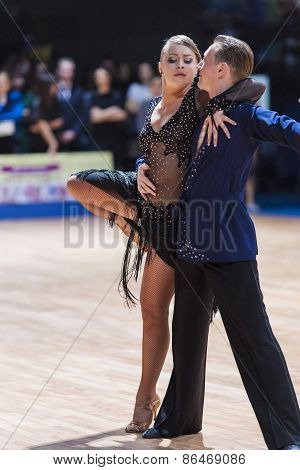 Minsk, Belarus-february 14,2015: Professional Dance Couple Of Chernenko Tymofiy And Chernenko Margo
