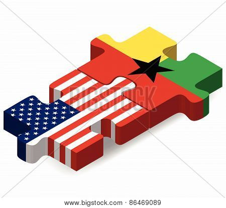 Usa And Guinea-bissau Flags In Puzzle