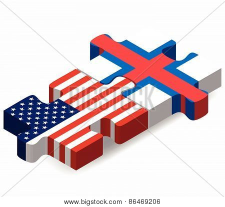 Usa And Faroe Islands Flags In Puzzle