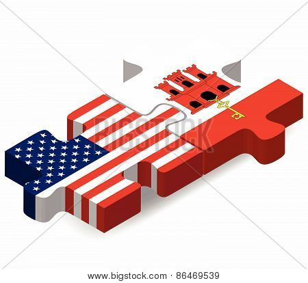 Usa And Gibraltar Flags In Puzzle