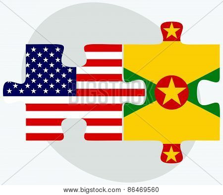 Usa And Grenada Flags In Puzzle