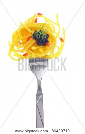 Fresh colorful composition seafood with pasta on fork, isolated on white