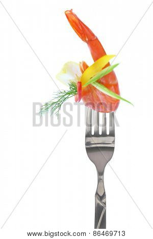 Fresh colorful composition with seafood on fork, isolated on white