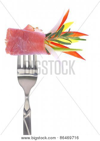 Fresh colorful composition with prosciutto on fork, isolated on white