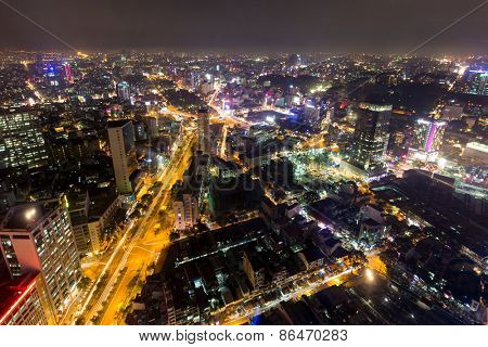 Saigon cityscape at night, view from the Bitexco tower, Vietnam
