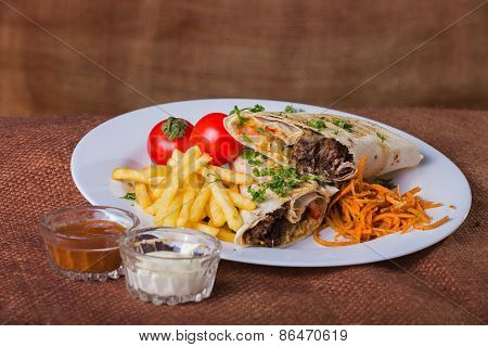 Eastern food. Arab food. Shawarma