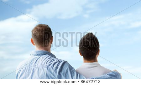 people, homosexuality, same-sex marriage, gay and love concept - close up of happy male gay couple or friends hugging from back over blue sky background