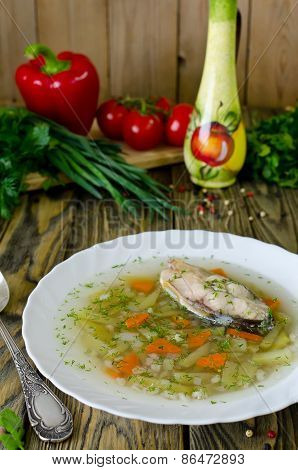 Homemade Soup Of Fish And Pearl Barley