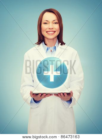 healthcare, technology and medicine concept - smiling female doctor and tablet pc computer