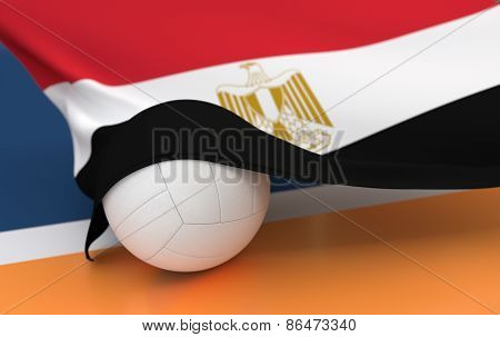 Flag Of Egypt With Championship Volleyball Ball
