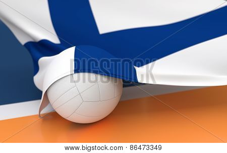 Flag Of Finland With Championship Volleyball Ball