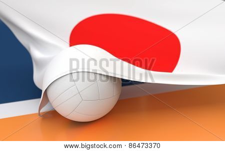 Flag Of Japan With Championship Volleyball Ball