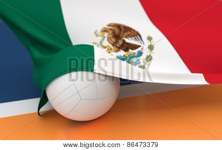 Flag Of Mexico With Championship Volleyball Ball