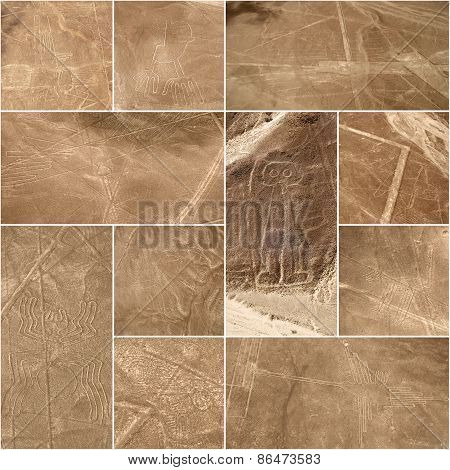 Unesco Heritage: Lines and Geoglyphs of Nazca, Peru - collage