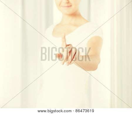 picture of young woman showing finger up