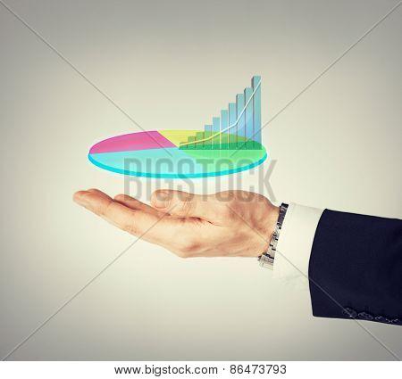 business and finances - businessman hand showing raising virtual chart