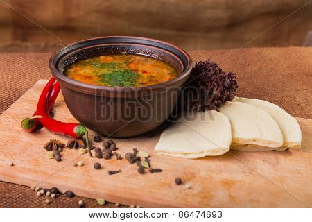 Oriental soup. Eastern food.