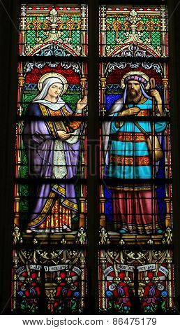 Stained Glass Of Saint Ana And Saint Joachim In Den Bosch Cathedral