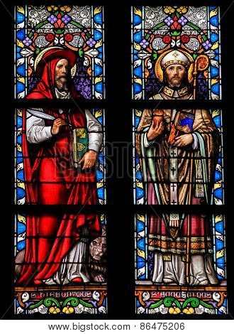 Stained Glass Of Saint Hieronymus And Saint Augustinus In Den Bosch Cathedral