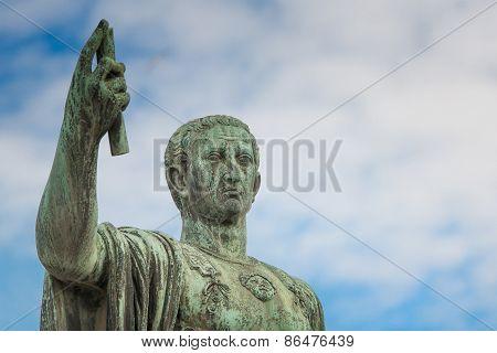 Statue Of Gaius Julius Caesar In Rome, Italy