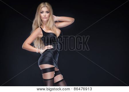 Sexy Woman In Black Lingerie.