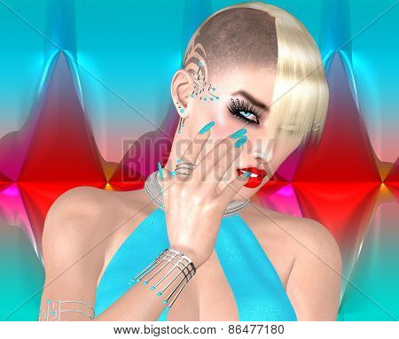Punk girl with Mohawk hairstyle on colorful abstract background.