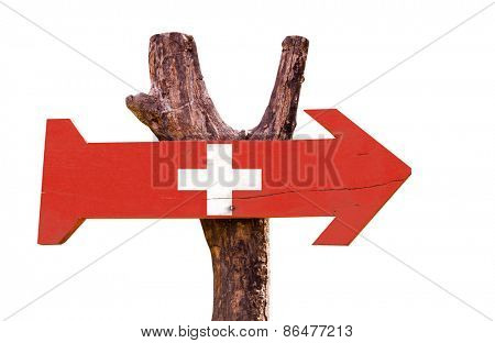 Switzerland wooden sign isolated on white background