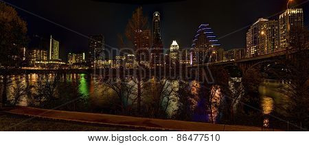 Austin Texas City Skyline At Night