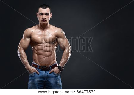 Sexy Muscular Man Isolated With Clipping Path