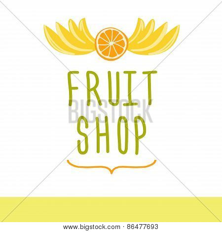 Fruit shop. Editable template logo or signage.