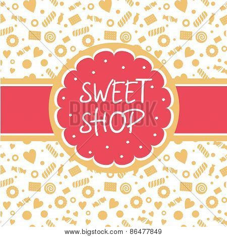 Sweet shop. Vector logo with the image of cake