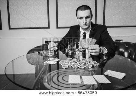 Poker player in the casino