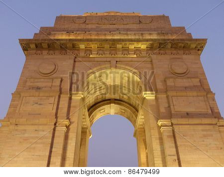 Close View Of India Gate With Lights At Night, New Delhi
