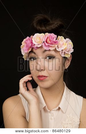 Asian American Teen Girl Protrait With Pink Flowers