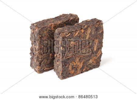 Two Pressing Briquette Of Black Chinese Shu Pu Erh Tea