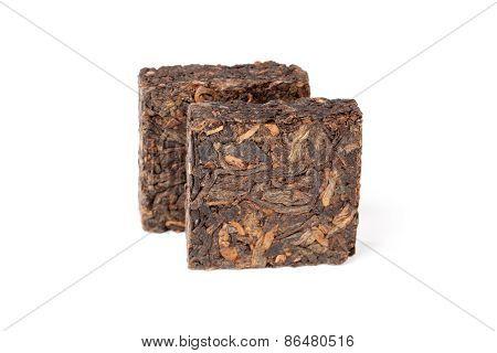 Two Pressing Briquette Of Chinese Shu Pu Erh Tea