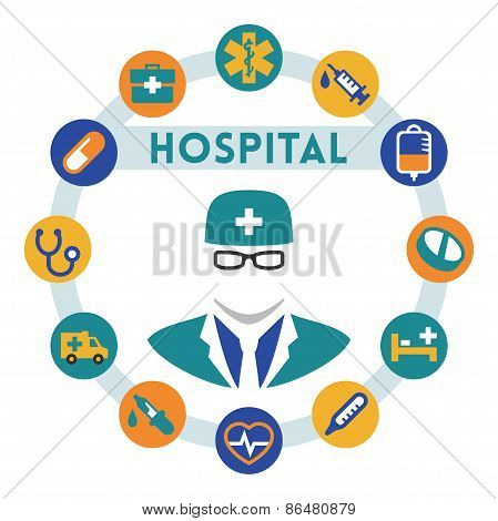 Hospital And Doctor Related Vector Infographic, Flat Style