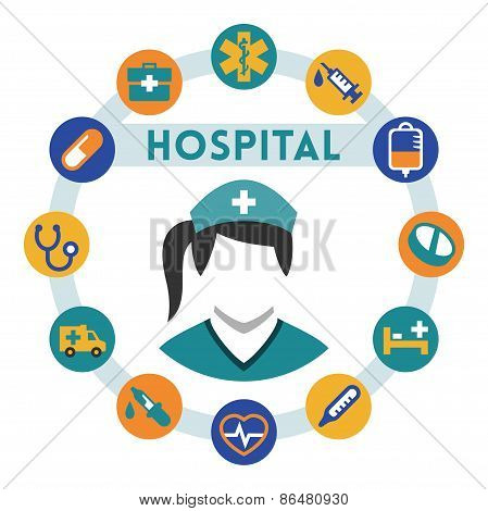Hospital And Nurse Related Vector Infographic, Flat Style