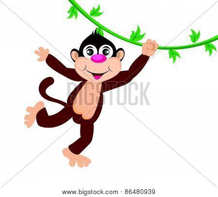 Cheerful monkey. Cartoon