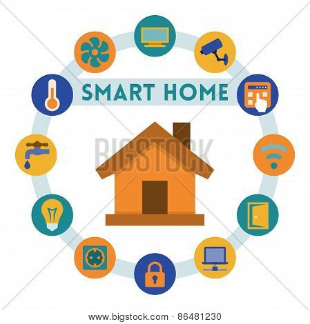 Smart Home Related Infographic And Icons, Flat Style