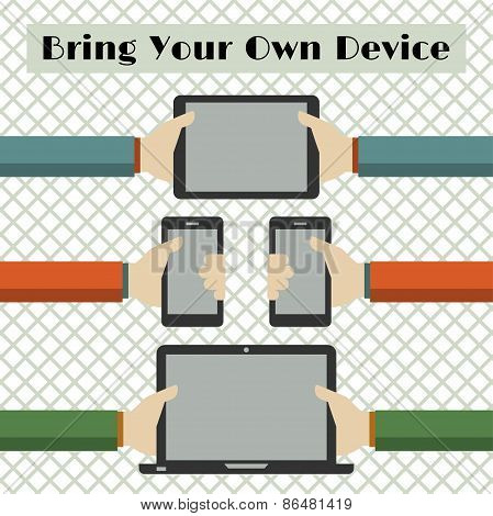 Vector Illustration Of Bring Your Own Device Or Byod Concept In Flat Style