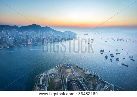 Twilight Of Victoria Harbour In Hong Kong, China