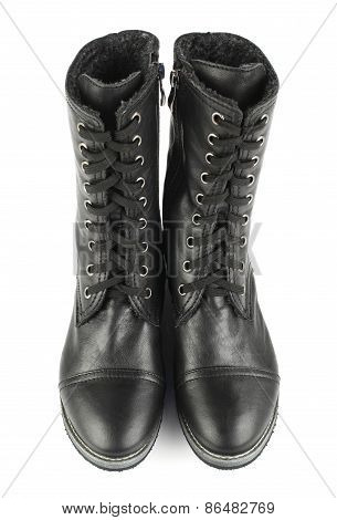 Women's black boots with laces