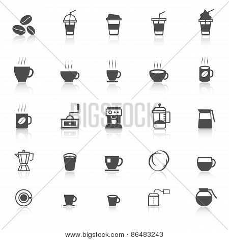 Coffee Icons With Reflect On White Background