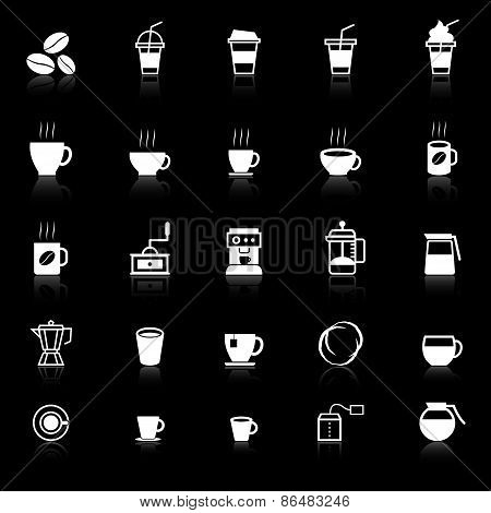 Coffee Icons With Reflect On Black Background