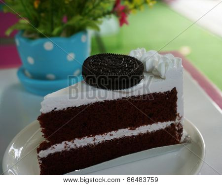 Delicious Chocolate Cake On Table