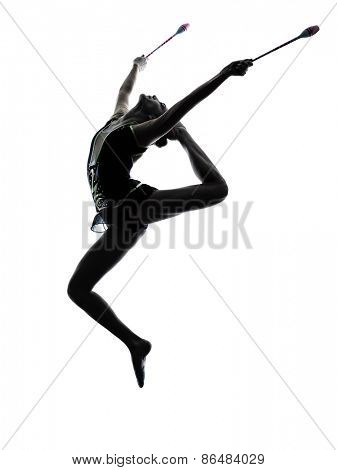 one caucasian woman exercising Rhythmic Gymnastics in silhouette isolated on white background