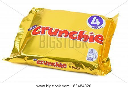 A multi-pack of four Cadbury crunchie chocolate bars
